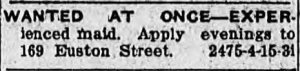 Advertisement for a maid at the MacLeod-Rogers House, Guardian 17 April 1924
