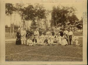 Tennis players at Victoria Park, 1889