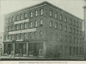 Riley's Tobaccoin the Welsh and Owen/Kays Building, Image courtesy of the Public Archives and Records Office