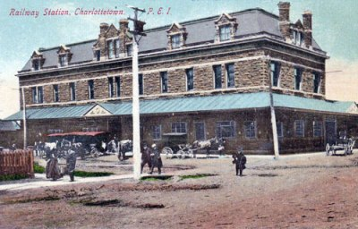 Railway Station, Charlottetown PEI, Postcard <br /> Photo Courtesy of the City of Charlottetown Collection