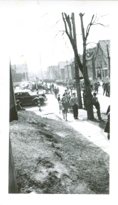 VE Day Parade, Elm Avenue, 8 May 1945 <br> Photo courtesy of the Frank M. Stewart Collection, City of Charlottetown Archives