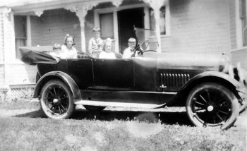 "The Andrew Family in a ""devil wagon"", c. 1920 <br> Dorothy Forsythe Collection, City of Charlottetown Archives"