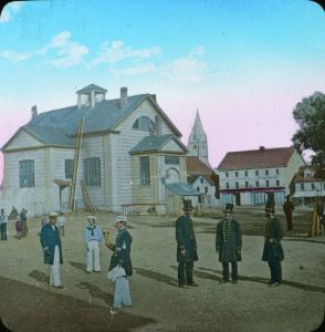 Police and Town Crier in front of the early City Hall/Courthouse, 1866