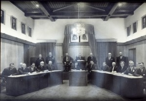 Charlottetown City Council and Staff in Council Chambers, Pre 1968