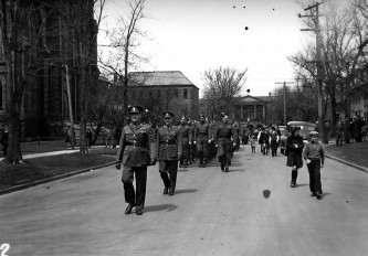 Colonel F.I. Andrew (front) and Beach Grove Training Centre Recruits on Great George Street, 1942 <br> Dorothy Forsythe Collection, City of Charlottetown Archives