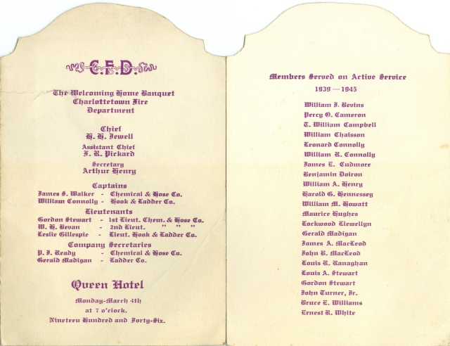 Charlottetown Fire Department Banquet Menu, March 4, 1946 <br> Charlottetown Fire Department Collection