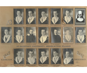 St. Dunstan's University Graduating Class, 1941 <br> Photo courtesy of the Archives and Special Collections, University of Prince Edward Island