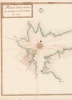 Plan de la rivière du nord-est en l'Isle St. Jean en 1730 <br> Bibliothèque nationale de France, département Cartes et plans, GE SH 18 PF 125 DIV 9 P 1